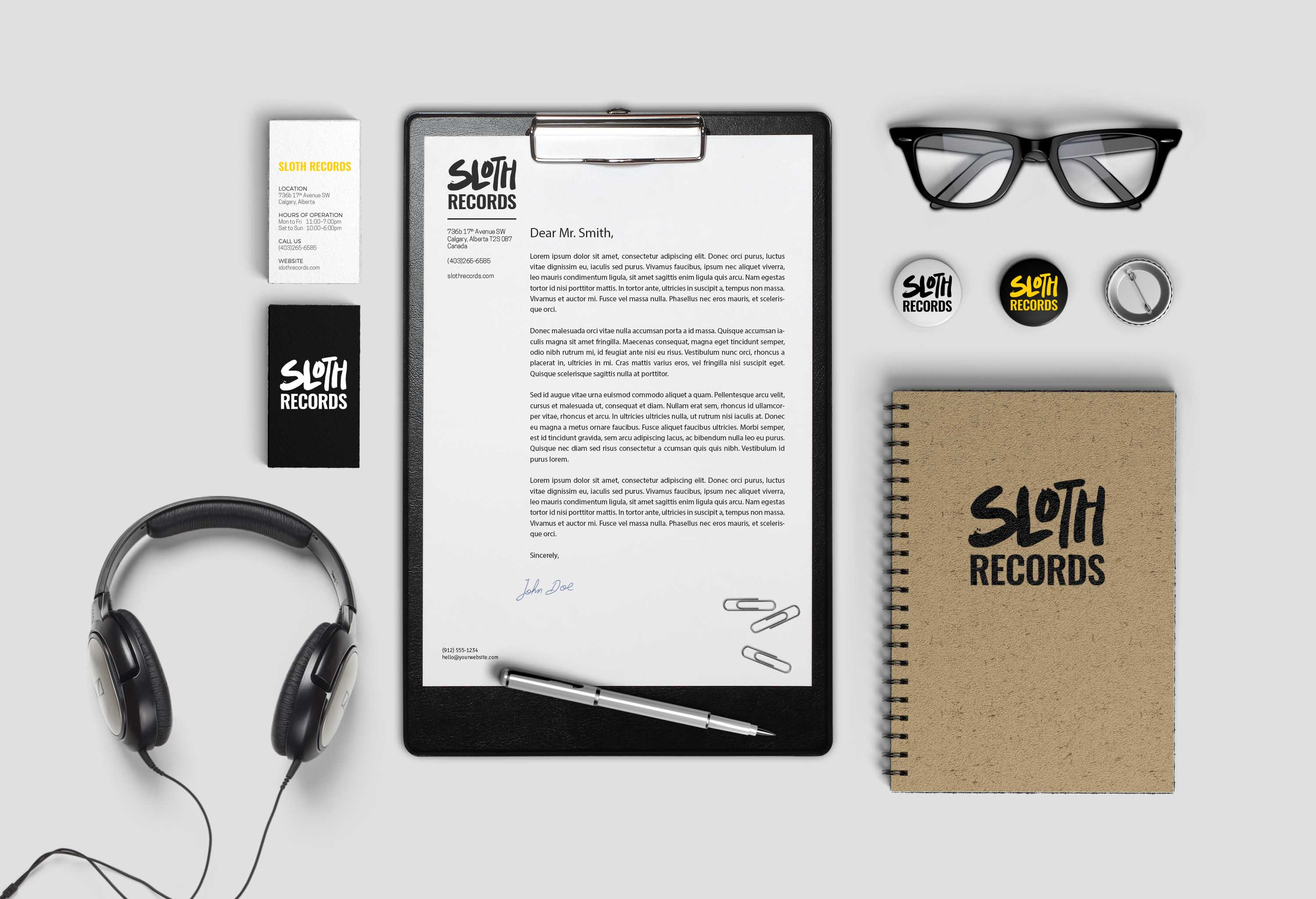 Sloth Records Stationary Concept branding design
